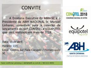 Convite para reunião de lançamento da 60º CONOTEL e EQUIPOTEL.